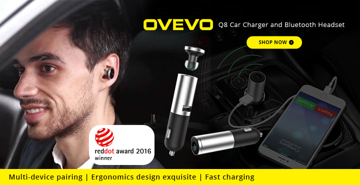 Ovevo Q8 Car Charger and Bluetooth Headset