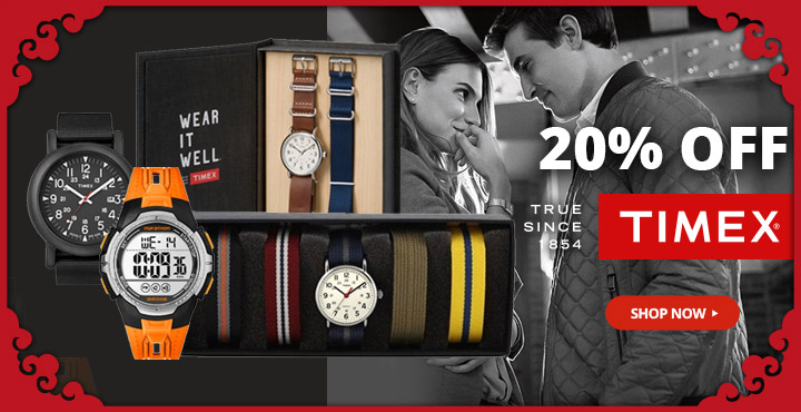 20% Off Timex Watches True since 1854