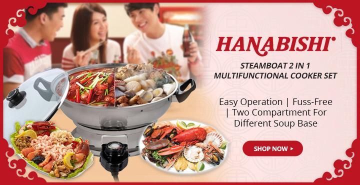Hanabishi Steamboat 2 In 1 Multifunctional Cooker Set