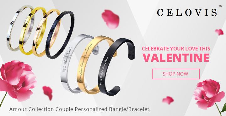 Celovis Amour Collection Couple Personalized Bangle / Bracelet